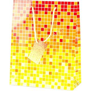 Geschenktasche kariert gelb-rot