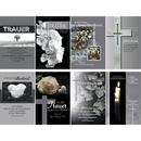 Trauerkarten mit Trauerumschlag, dunkle Motive