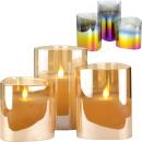 Glaskerzen 3er LED mit beweglicher Flamme